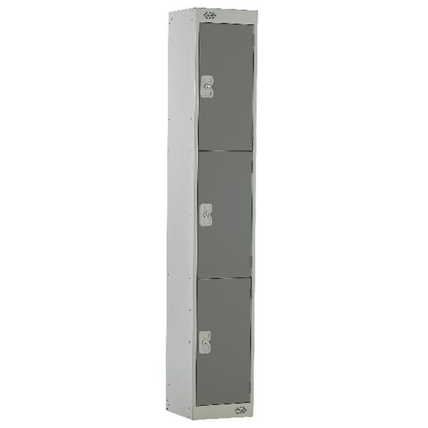 Three Compartment Locker D300mm Dark Grey Door MC00015