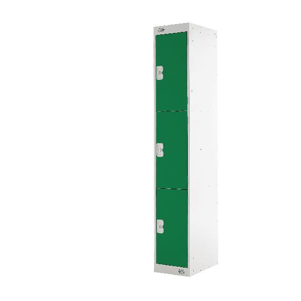 Three Compartment Locker D300mm Green Door MC00016