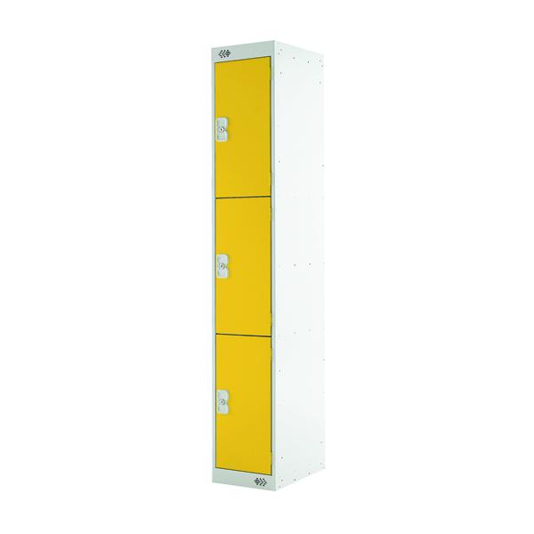 Three Compartment Locker D300mm Yellow Door MC00018