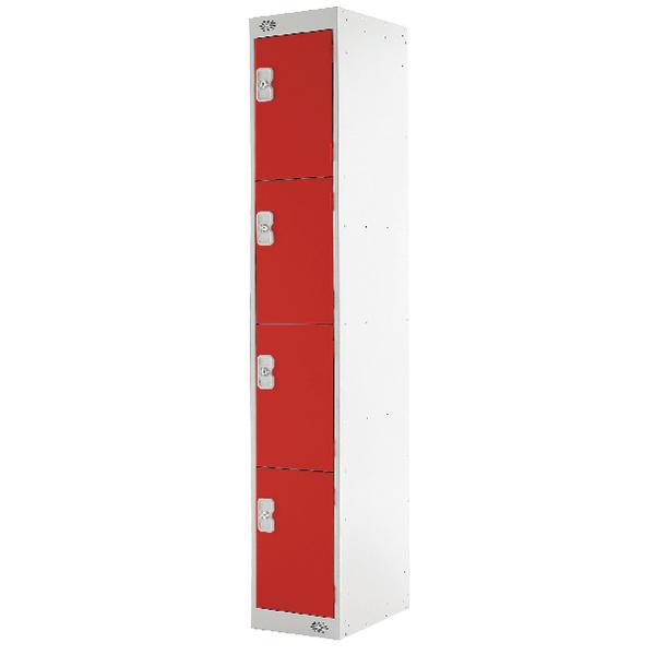 Four Compartment Locker D300mm Red Door MC00023