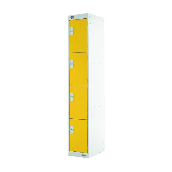 Four Compartment Locker D300mm Yellow Door MC00024