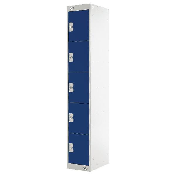 Five Compartment Locker D300mm Blue Door MC00025
