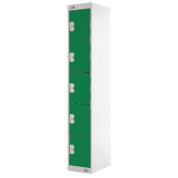 Five Compartment Locker D300mm Green Door MC00028