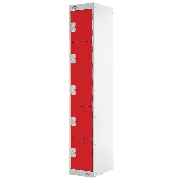 Five Compartment Locker D300mm Red Door MC00029