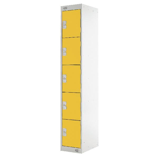 Five Compartment Locker D300mm Yellow Door MC00030