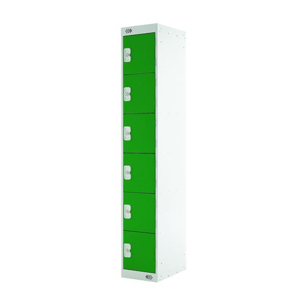 Six Compartment Locker D300mm Green Door MC00034