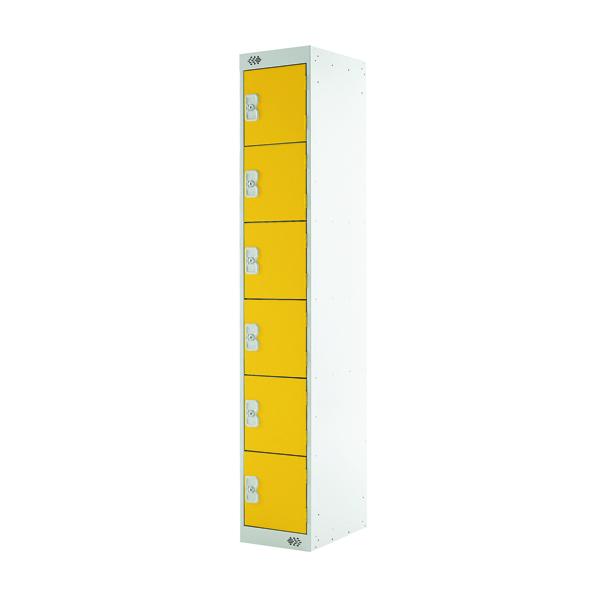Six Compartment Locker D300mm Yellow Door MC00036