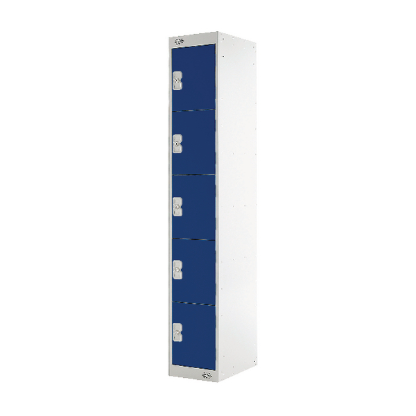 Image for Five Compartment Locker Blue Door 450mm Deep