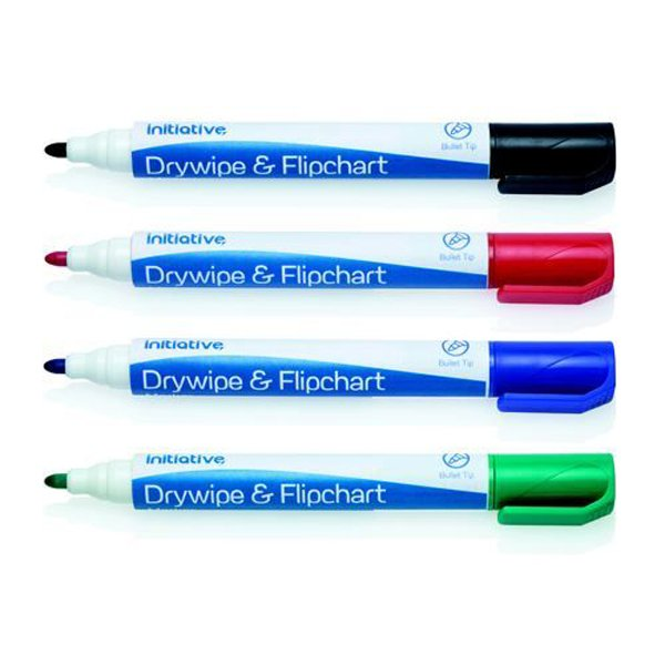 Initiative Drywipe and Flipchart Marker Xylene Free Water Resistant Assorted Pack 10