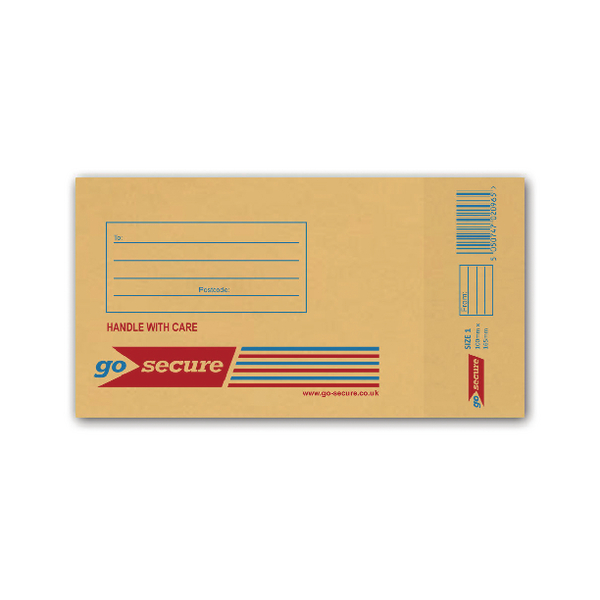 GoSecure Bubble Lined Envelope Size 1 100x165mm Gold (Pack of 100)