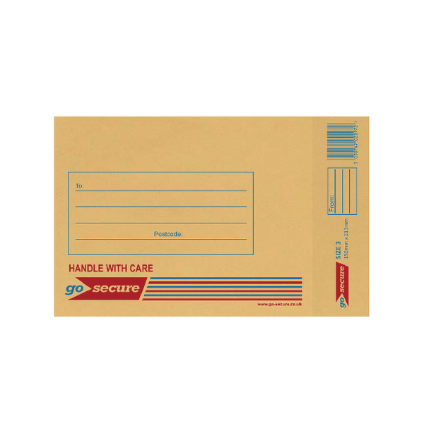 GoSecure Bubble Lined Envelope Size 3 150x215mm Gold (Pack of 100)