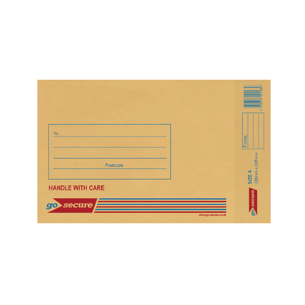 GoSecure Bubble Lined Envelope Size 4 180x265mm Gold (Pack of 100)