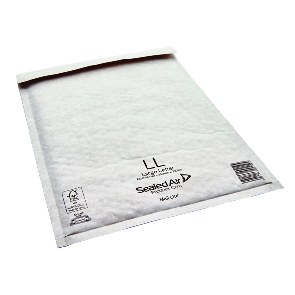 Mail Lite Bubble Lined Size LL 230x330mm White Postal Bag (Pack of 50) MAIL LITE LL