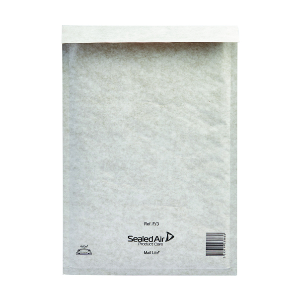 Mail Lite Bubble Lined Size F/3 220x330mm White Postal Bag (Pack of 50) MLW F/3