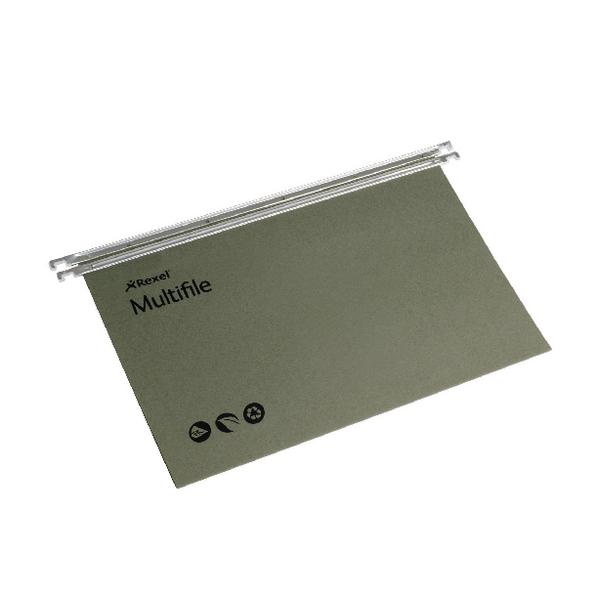 Rexel Multifile Suspension File V Base 15mm Green (Pack of 50) 78008