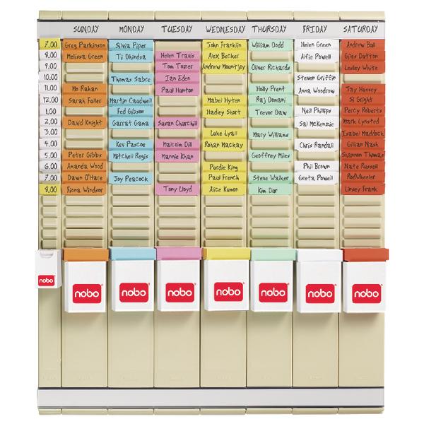 Nobo 7 T-Card Panel Midi Office Planning Kit 480x480mm 29110