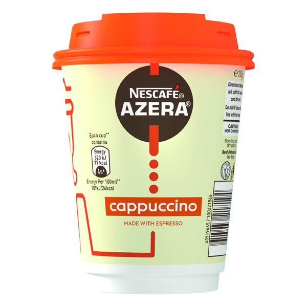 Nescafe Azera To Go Cappuccino Cups and Lids (Pack of 6) 12367616