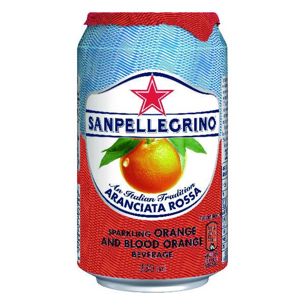 San Pellegrino Sparkling Blood Orange 330ml Can (Pack of 24) 12365783