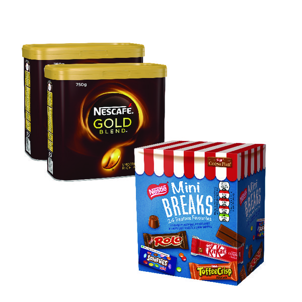 Nescafe Gold Blend 2x750g FOC Mini Breaks Mixed Selection (Pack of 24)