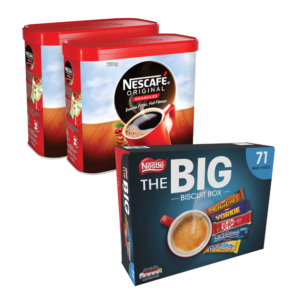 Nescafe Instant Coffee 750g (Pack of 2)  FOC Nestle Biscuit Box 12391006