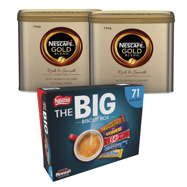 Nescafe Gold Blend Coffee 750g  (Pack of 2)  FOC Nestle Big Biscuit Box 12391006
