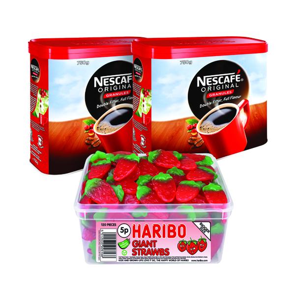 Nescafe Original Instant Coffee 750g (Pack of 2) Plus FOC Haribo Giant Strawbs