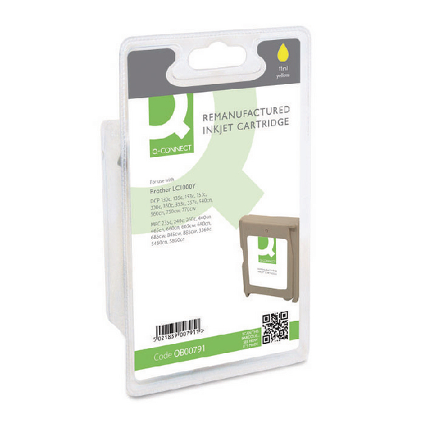 Q-Connect Brother Remanufactured Inkjet Yellow Cartridge LC1000Y