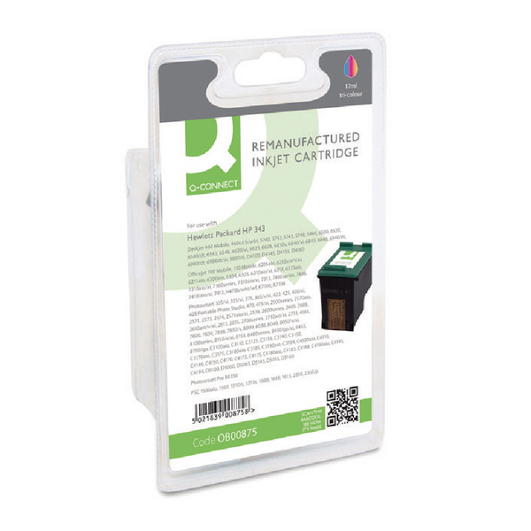 Q-Connect HP 343 Remanufactured Colour Inkjet Cartridge C8766EE