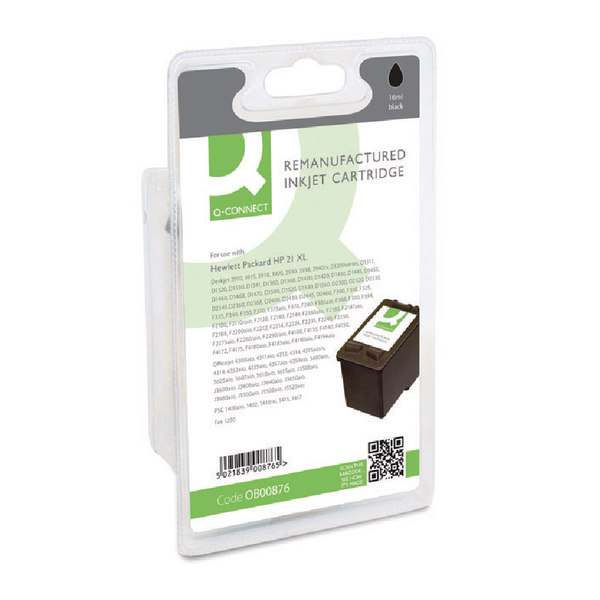 Q-Connect HP 21 Remanufactured Black Inkjet Cartridge C9351AE