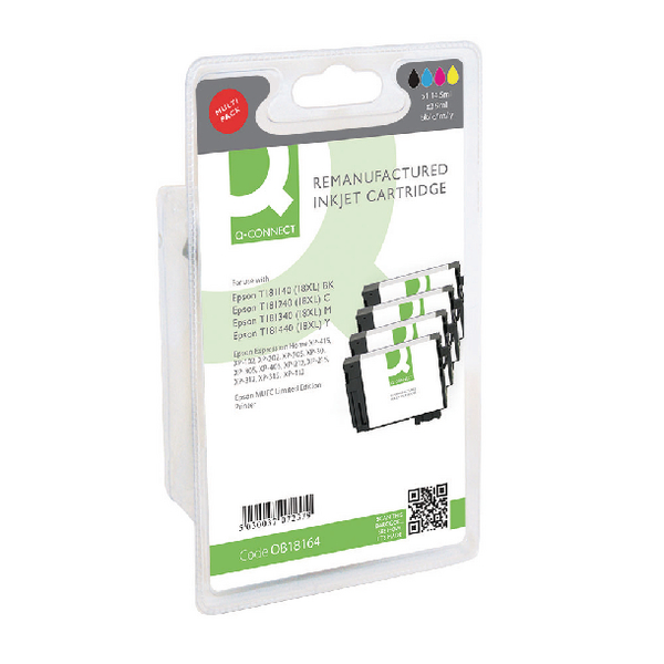 Q-Connect Epson T181640 HY Ink Cartridge (Pack KCMY (Pack of 4) T181640-COMP