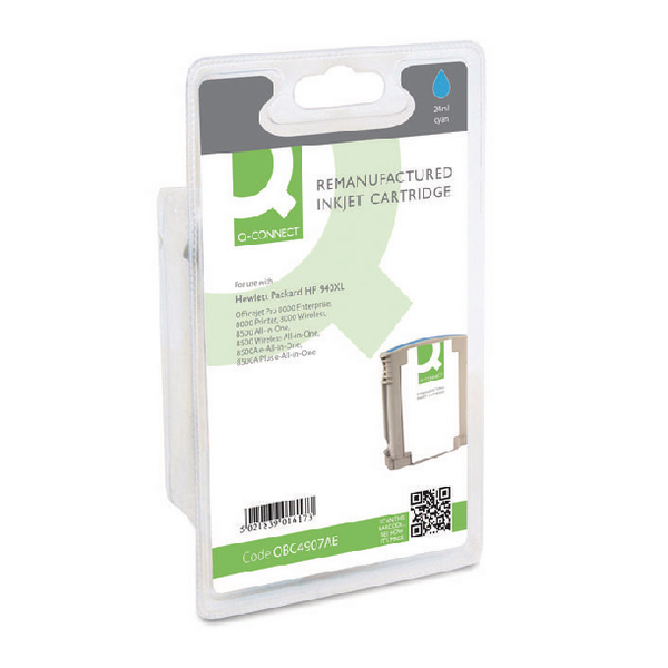 Q-Connect HP 940XL Remanufactured Cyan Inkjet Cartridge High Yield C4907AE