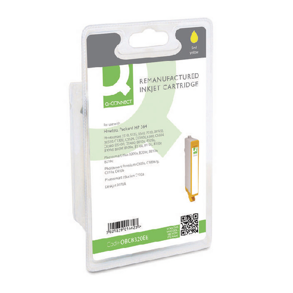 Q-Connect HP 364 Remanufactured Yellow Inkjet Cartridge CB320EE