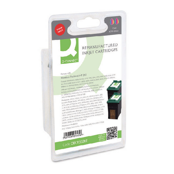 Q-Connect HP 343 Remanufactured Colour Inkjet Cartridge (Pack of 2) CB332EE