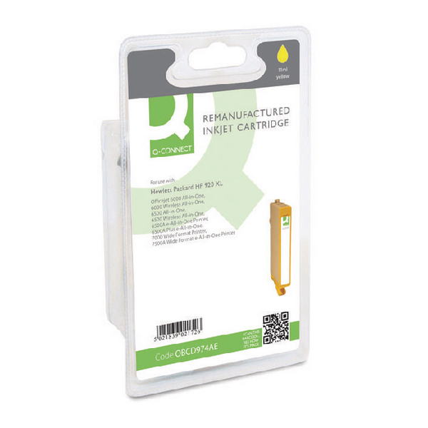 Q-Connect HP 920XL Remanufactured Yellow Inkjet Cartridge High Yield CD974AEBGX