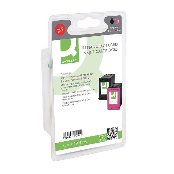 Q-Connect HP 901XL 901 SD519AE Ink Cartridge (Pack Black Tricolour (Pack of 2) SD519AE-COMP