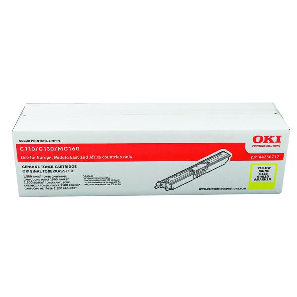Oki C110/C130 1.5K Yellow Laser Toner Cartridge 44250717
