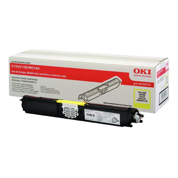 Oki C110/C130 High Capacity 2.5K Yellow Laser Toner Cartridge 44250721