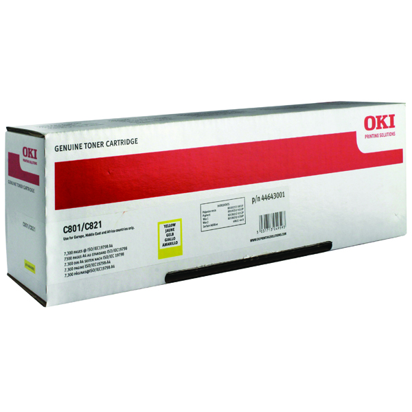 Oki Yellow Toner Cartridge (7,300 Page Capacity) 44643001