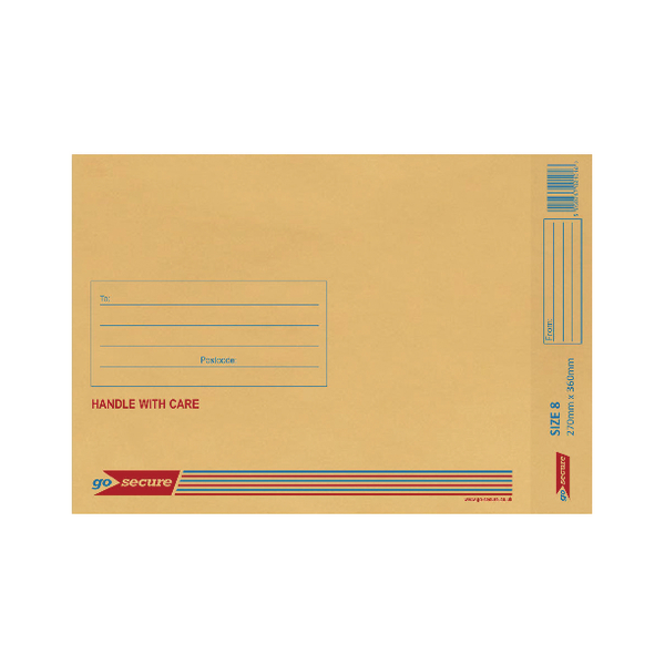 GoSecure Bubble Lined Envelope Size 8 270x360mm Gold (Pack of 20)