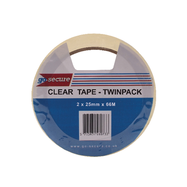 GoSecure Twin Pk 25mmx66m Clear Tape Pk6