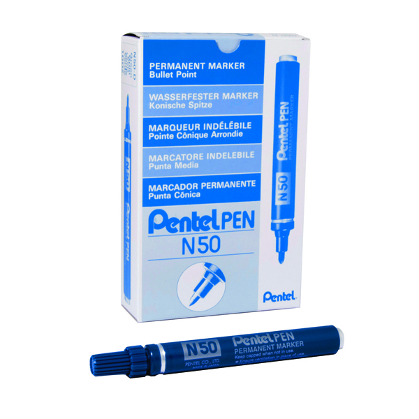 Pentel N50 Permanent Bullet Marker Broad Blue (Pack of 12) N50-C
