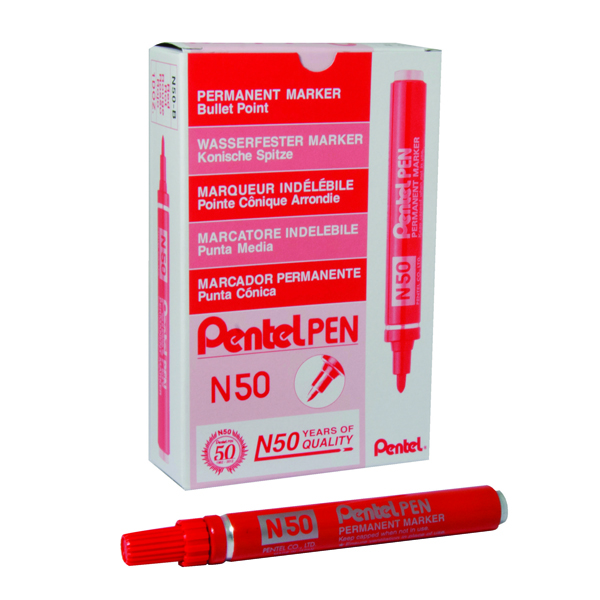 Pentel N50 Permanent Bullet Marker Broad Red (Pack of 12) N50-B
