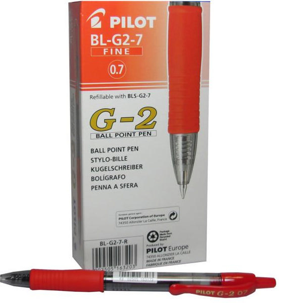Pilot G207 Retractable Gel Red Pen (Pack of 12) G2 RED