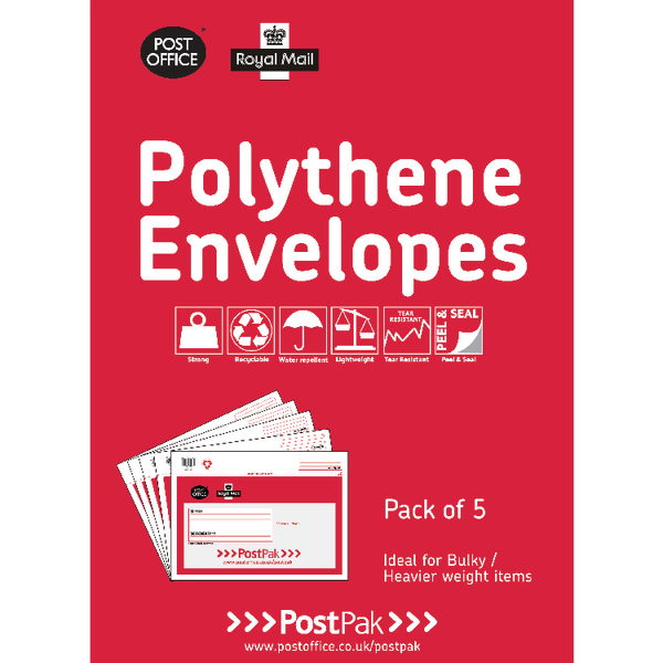 20 x Polythene 460x430 Envelopes (Durable and water-proof envelopes) 101-3484