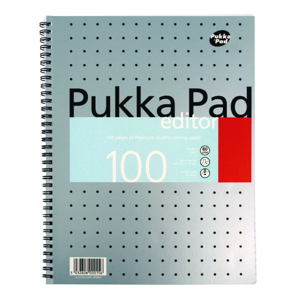 Pukka Ruled Metallic Wirebound Editor Notepad 100 Pages A4 (Pack of 3) EM003