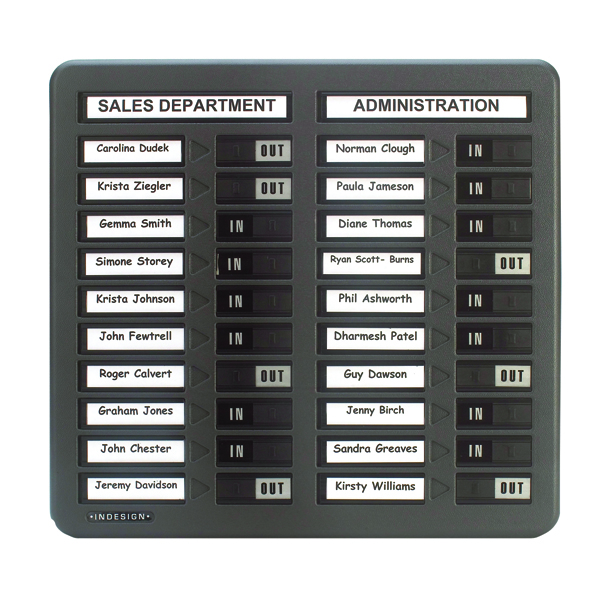 Indesign 20 Names In/Out Board Grey WPIT20I