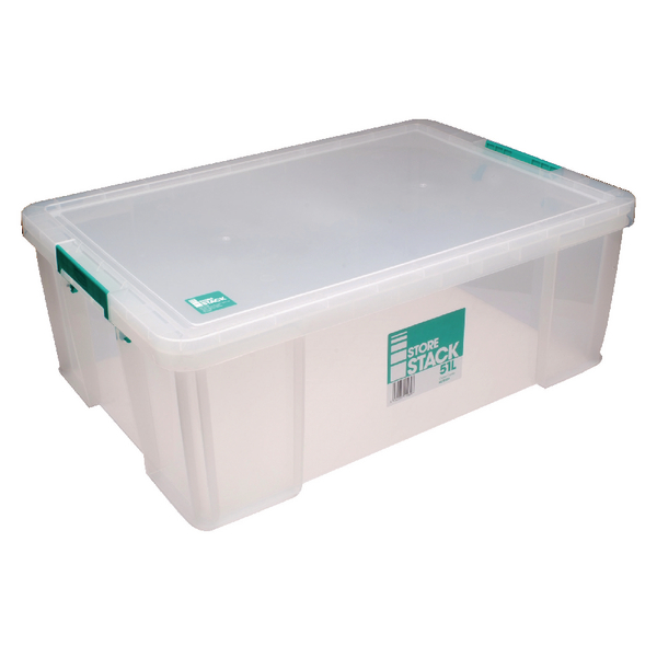 StoreStack 51 Litre Clear W660xD440xH230mm Storage Box RB11089
