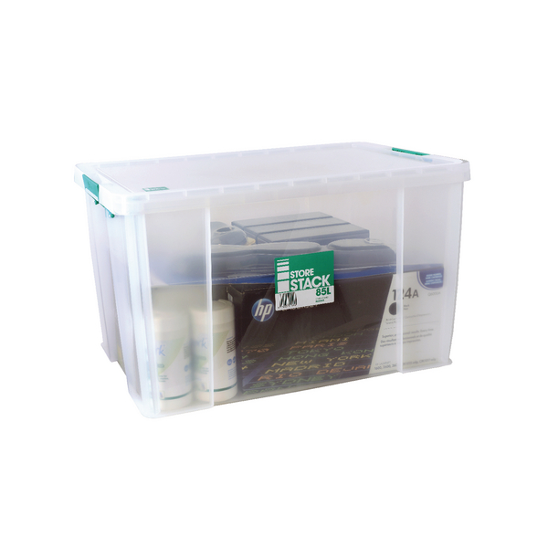 StoreStack 85 Litre Clear W660xD440xH390mm Storage Box RB11090