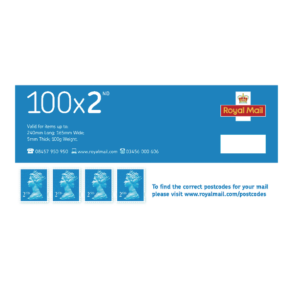 Second Class Postage Stamps (Pack of 100) SDN2