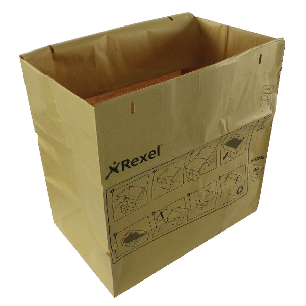 Rexel Brown Recyclable Paper Shredder Bags (Pack of 50) 2102248